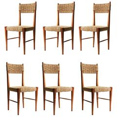 Set of Six Chairs with Wooden Structure and Natural Fiber, Italia, 1950