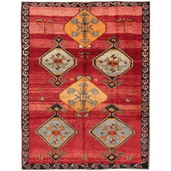 Vintage Turkish Kars Rug with Striated Red Field and Six Central Medallions