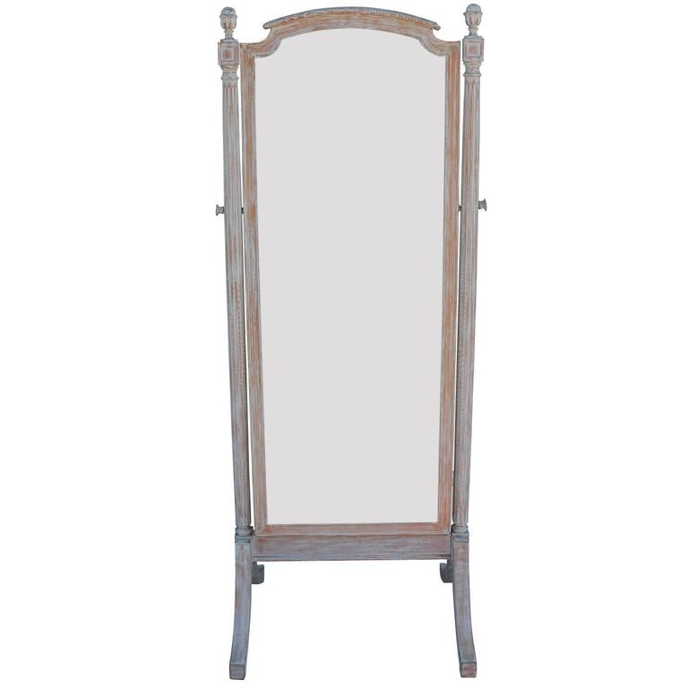 Free Standing French Mirror with Blonde Bleached Wood Frame