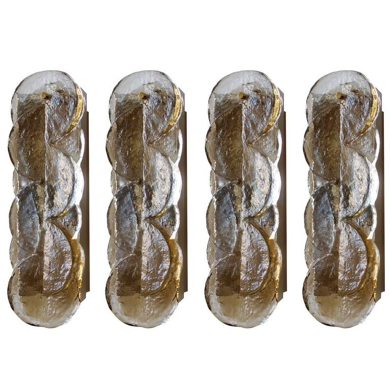 Four Lovely Murano Glass Wall Lights Sconces, J.T. Kalmar, Austria, 1960s