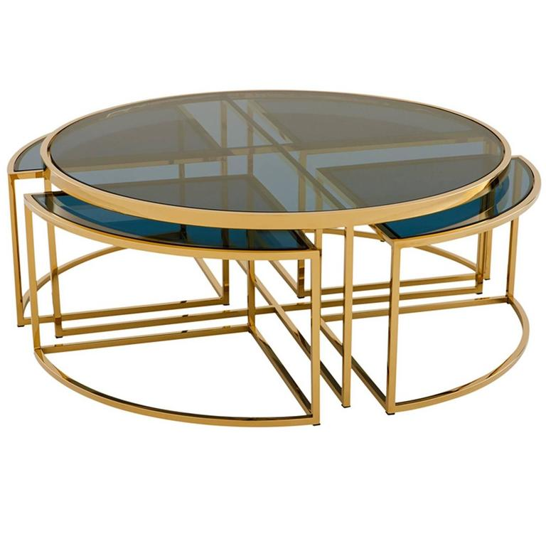 Stainless Steel Coffee Table: Four Pieces Coffee Table In Gold Finish Or Polished