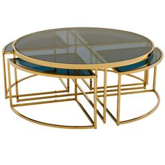 Four Pieces Coffee Table in Gold Finish or Polished Stainless Steel