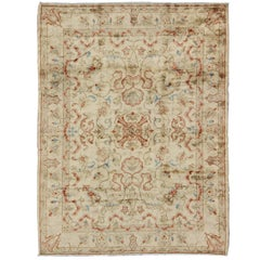 Square Antique Oushak Rug with Neutral All-Over Floral Design and Hints of Color