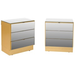 Sleek Pair of Modern Style Three-Drawer Mirrored Vintage Chests with Gold Color