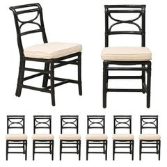 Set of Eight McGuire Rattan Dining Side Chairs in Black, Curule Shaped Backs