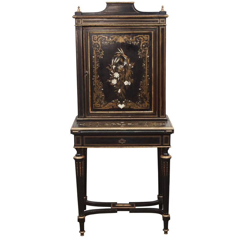 napoleon iii louis xv revival ormolu mounted ebonized. Black Bedroom Furniture Sets. Home Design Ideas