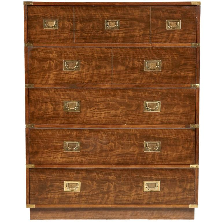 Drexel Furniture Campaign Style Highboy Dresser