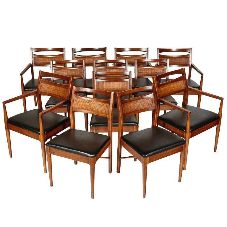 american of martinsville dining room set | American of Martinsville Walnut and Cane Dining Chairs ...