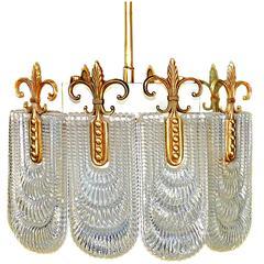 Elegant Rare Mid-Century Modernist Bronze/Glass Light Fixture by Kaiser Leuchten