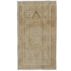 Vintage Oushak Rug in Khaki, Taupe, Butter Yellow and Cream with Light Blue