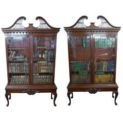 Pair of Chippendale Revival Mahogany Bookcases
