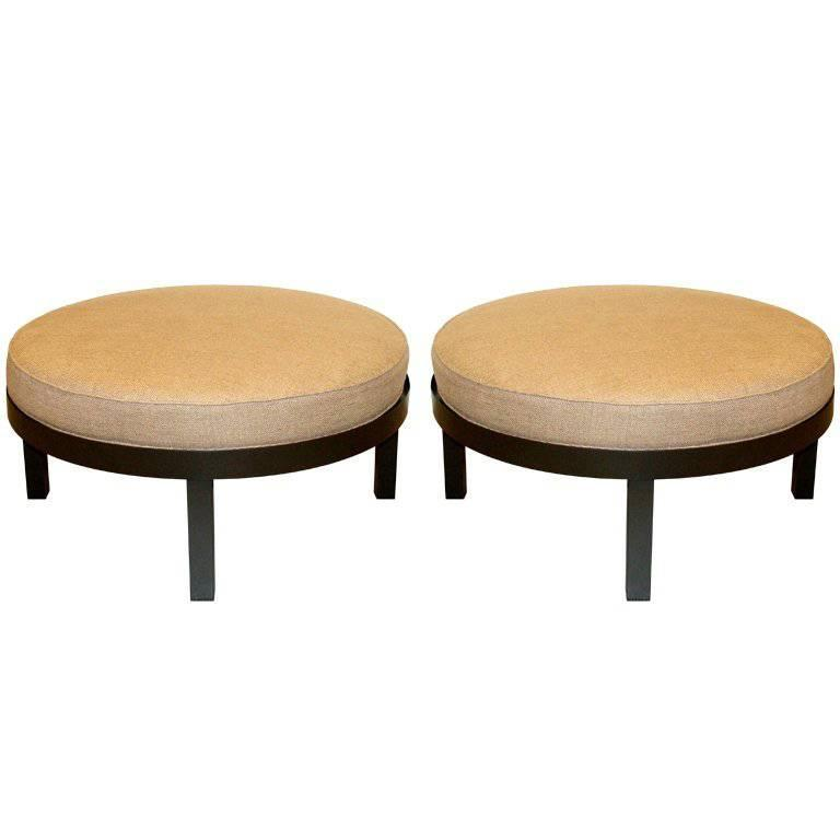 Two Low Stools or Poufs