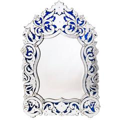 French Venetian Style Mirror with Blue Glass Ground, 19th Century