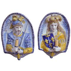 Pair of 19th Century French Faience Sconces with Joan of Arc and Duc D'Orleans