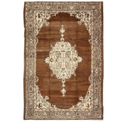 Vintage Turkish Oushak Rug with Floral Motifs in Chocolate Brown, Ivory, Taupe