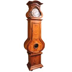18th Century French Louis XIV Walnut Grandfather Clock with Marquetry from Lyon