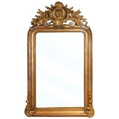 French Louis XVI Style Gilt and Silvered Mirror with Carved Crest, 19th Century