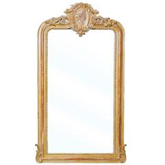 Gold and Silver Gilt French Neoclassical Style Mirror with Greek Profile Cameo