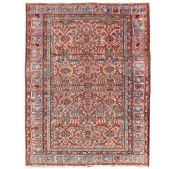 Antique Serapi Carpet with Salmon Background and Colorful Geometric Florals