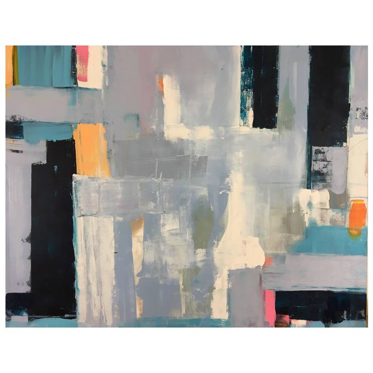 """Large Blue Multi Color Abstract Painting Titled """"Derby"""" by Rebecca Ruoff, 2017"""