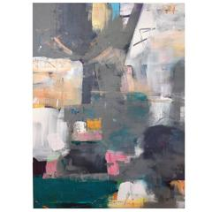 "Large Grey Multi Abstract Painting Titled ""Basque"" by Rebecca Ruoff, 2017"