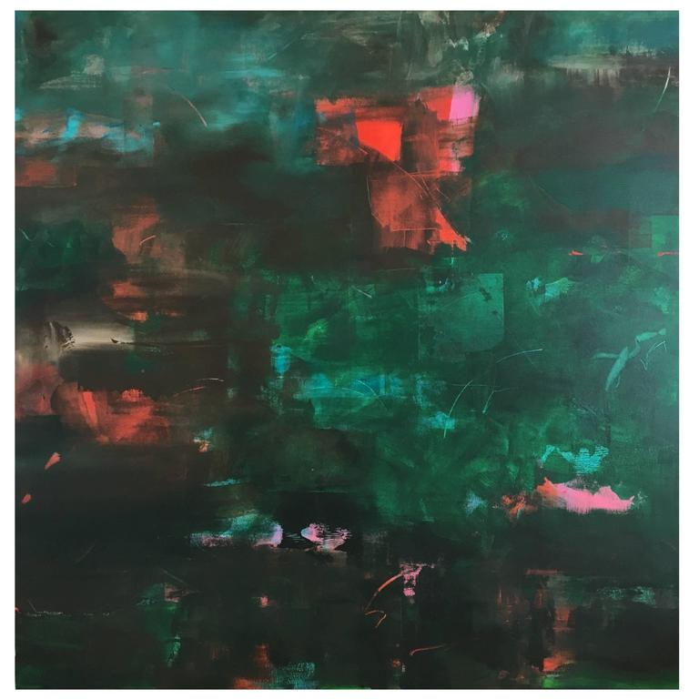 """Large Green Abstract Painting Titled """"Pineapple Sage"""" by Rebecca Ruoff, 2017"""