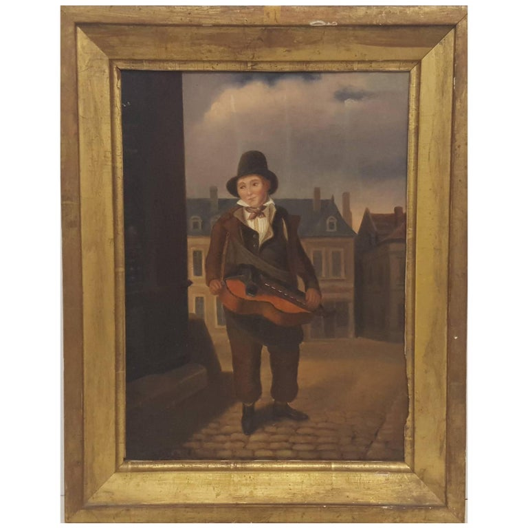 Western European (French) 19th Century Oil Painting of Street Musician For Sale
