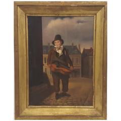 Western European (French) 19th Century Oil Painting of Street Musician