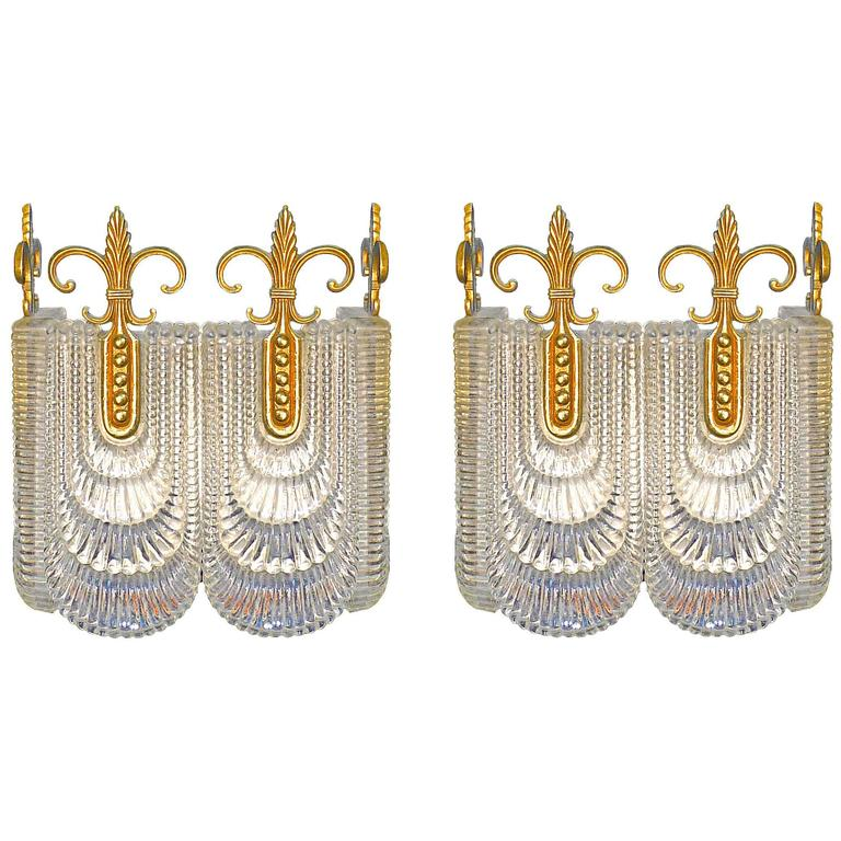 Pair of Modernist Sconces by Kaiser Leuchten, Double Wall Lights Vintage 1970s