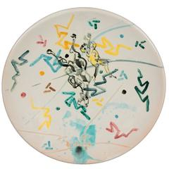 Decorative Plate by Agenore Fabbri Decorated Ceramic and Enamel, Italy, 1950s