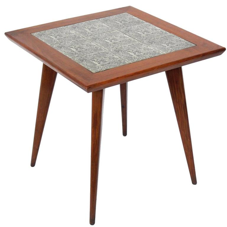 Brazilian mid century end table with inset tiles at 1stdibs - Brazilian mid century modern furniture ...