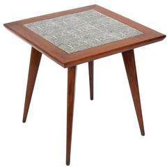 Brazilian Mid-Century End Table with Inset Tiles