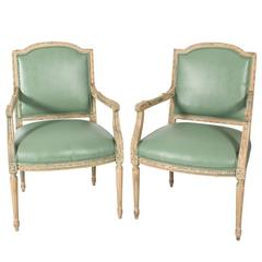 Pair of Mint Green Leather Chairs