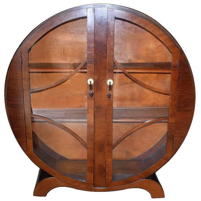 Original English 1930s Art Deco Circular Display Cabinet in Walnut ...