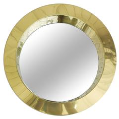 """Large 24"""" Brass Disco Porthole Mirror by Curtis Jere, circa 1976"""