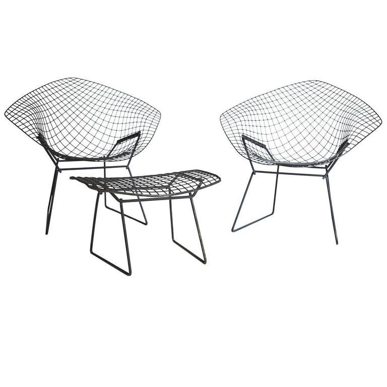 Harry Bertoia Diamond Chair And Ottoman For Knoll 1