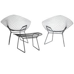 Harry Bertoia Diamond Chair and Ottoman for Knoll