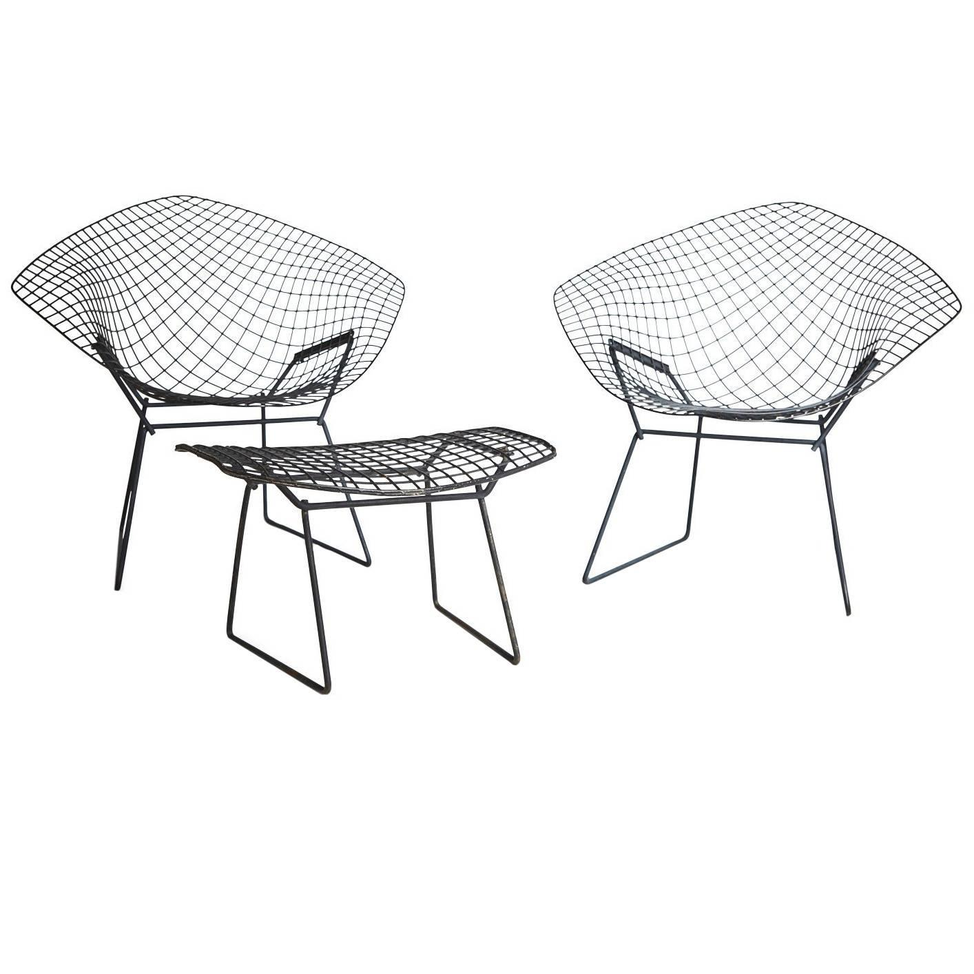 Harry Bertoia Diamond Chair and Ottoman for Knoll For Sale at 1stdibs