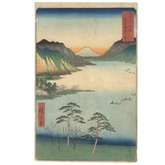 19th Century Japanese Woodblock Print, Ando Hiroshige 1st Ukiyo-E, Mount Fuji