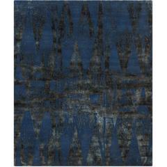 'Diamonds_Vintage Midnight Blue' Hand-Knotted Tibetan Modern Geometric Rug