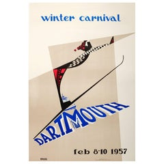 Original Vintage Skiing Event Poster for the Annual Dartmouth Winter Carnival