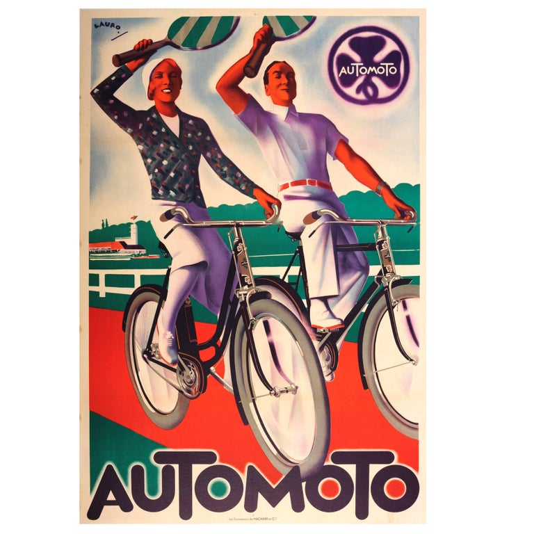 Original Vintage Art Deco Poster Advertising the French Bicycle Company Automoto For Sale