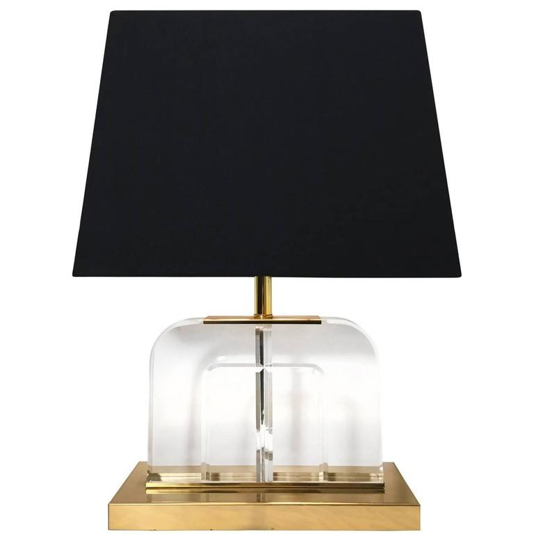 Curved Lucite and Brass Table Lamps 1