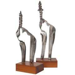 Set Two Cast Aluminum Modernist Abstract Sculptures