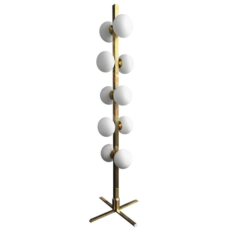 Frosted Glass Globe and Brass Standing Lamp 1
