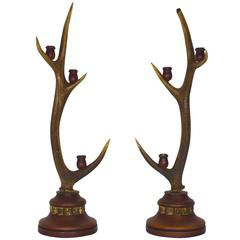 Red Stag Candelabra, Set of Two