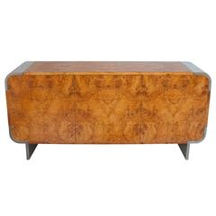 Pace Collection Burl Wood and Chrome Sideboard Cabinet