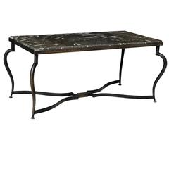 Wrought Iron Coffee Table with Black Sea Shell Marble