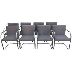 1980s Mies Van Der Rohe Chrome Tubular Brno Chairs, Set of Eight