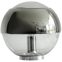 Peill & Putzler Glass Globe & Chrome Table Lamp, 1970s Modernist Design Light